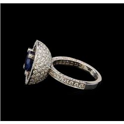 GIA Cert 3.60 ctw Sapphire and Diamond Ring - 14KT White Gold