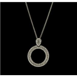 Crystal Pave Circle Pendant Necklace - Rhodium Plated