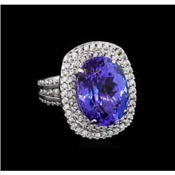 15.06 ctw Tanzanite and Diamond Ring - 14KT White Gold