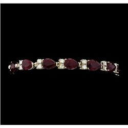 21.24 ctw Ruby and Diamond Bracelet - 14KT White Gold