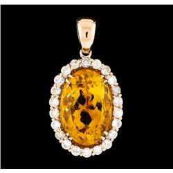 11.03 ctw Citrine and Diamond Pendant - 14KT Rose Gold