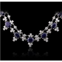 14KT White Gold 13.78 ctw Sapphire and Diamond Necklace