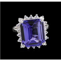 7.92 ctw Tanzanite and Diamond Ring - 14KT White Gold