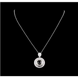 7.52 ctw Black Diamond Pendant With Chain - 14KT White Gold