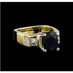 2.54 ctw Sapphire and Diamond Ring - 18KT Yellow Gold