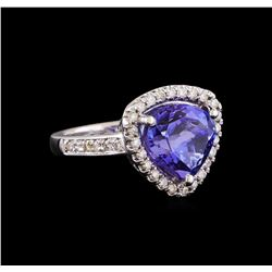 5.48 ctw Tanzanite and Diamond Ring - 14KT White Gold