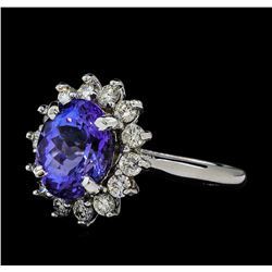 3.5 ctw Tanzanite and Diamond Ring - 14KT White Gold