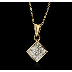 14KT Yellow Gold 0.50 ctw Diamond Pendant With Chain