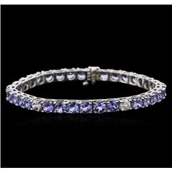 14KT White Gold 13.13 ctw Tanzanite and Diamond Bracelet