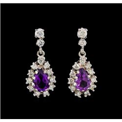 14KT White Gold 2.72 ctw Amethyst and Diamond Earrings