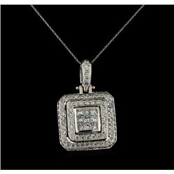4.10 ctw Diamond Pendant With Chain - 18KT White Gold
