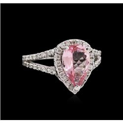 1.65 ctw Pink Tourmaline and Diamond Ring - 14KT White Gold