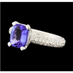 2.20 ctw Tanzanite and Diamond Ring - 18KT White Gold
