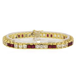 6.69 ctw Ruby and White Sapphire Bracelet - 14KT Yellow Gold