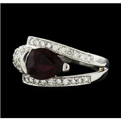 1.56 ctw Ruby and Diamond Ring - 18KT White Gold