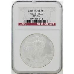 2006 NGC MS69 First Strike American Silver Eagle Dollar Coin