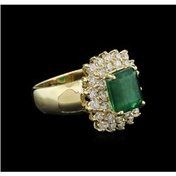 3.21 ctw Emerald and Diamond Ring - 14KT Yellow Gold