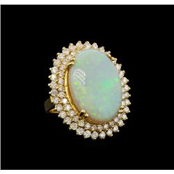 14KT Yellow Gold 8.95 ctw Opal and Diamond Ring