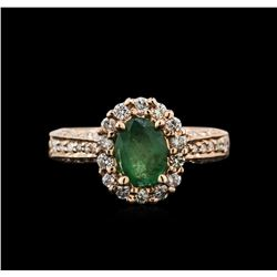 0.86 ctw Emerald and Diamond Ring - 14KT Rose Gold