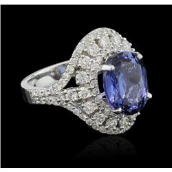 5.96 ctw Tanzanite and Diamond Ring - 14KT White Gold