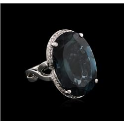14KT White Gold 34.24 ctw Blue Topaz and Diamond Ring