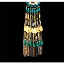 Circle Tassel Chain Necklace - Gold Plated