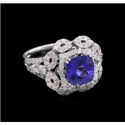 2.71 ctw Tanzanite and Diamond Ring - 14KT White Gold