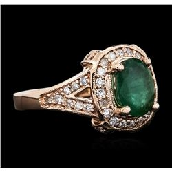 14KT Rose Gold 1.76 ctw Emerald and Diamond Ring