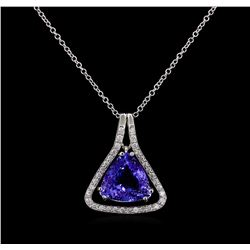6.74 ctw Tanzanite and Diamond Pendant - 14KT White Gold
