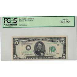 1950-B $5 PCGS Choice New 63PPQ Federal Reserve Note