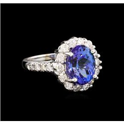5.00 ctw Tanzanite and Diamond Ring - 14KT White Gold
