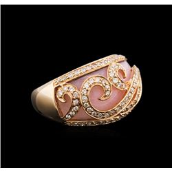 14KT Rose Gold 3.85 ctw Pink Opal and Diamond Ring