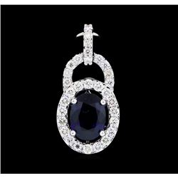 1.40 ctw Blue Sapphire and Diamond Pendant - 14KT White Gold