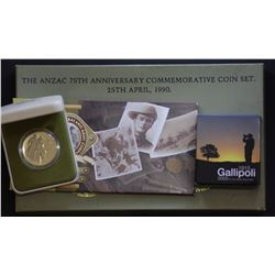 Gallipoli $1, 2005 2 coins set & 1990 $5
