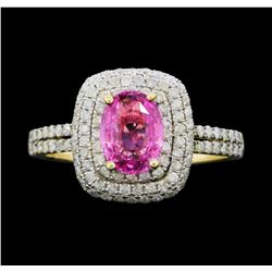 14KT Yellow Gold 1.35ct Pink Sapphire and Diamond Ring
