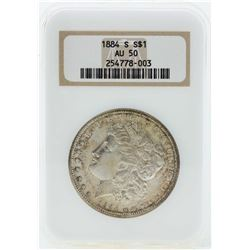 1884-S $1 Morgan Silver Dollar Coin NGC AU50