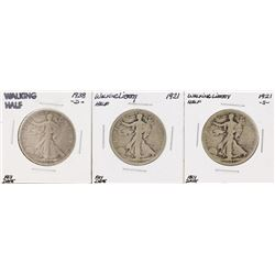 Set of (3) Walking Liberty Half Dollar Key Date Coins