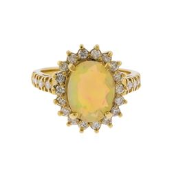 14KT Yellow Gold 1.98ct Opal and Diamond Ring