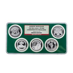 Set of (5) Authentic Binion .999 Fine Silver Commemorative Medallions
