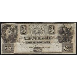 1800's $3 The Tecumseh Bank Michigan Obsolete Note