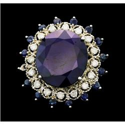 14KT White Gold 20.84ctw Sapphire and Diamond Ring