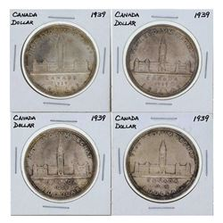 Lot of (4) 1939 $1 Canada Silver Coins