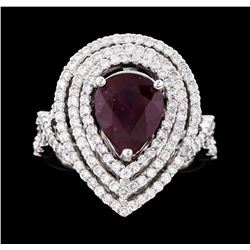 18KT White Gold 3.30ct Ruby and Diamond Ring