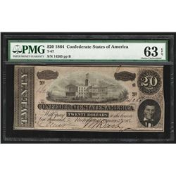 1864 $20 The Confederate States of America Note T-67 PMG Choice Uncirculated 63E