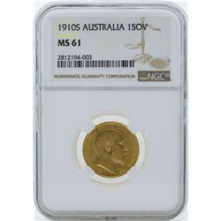 1910S Australia 1 Sovereign Gold Coin NGC MS61