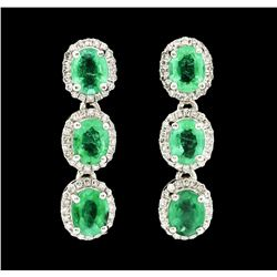 Platinum 1.75ctw Emerald and Diamond Earrings