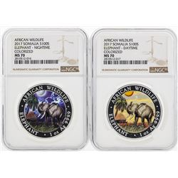 Lot of (2) 2017 Somalia 100 Shilling Elephant Colorized Silver Coins NGC MS70