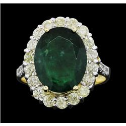 14KT Yellow Gold 4.07ct Emerald and Diamond Ring
