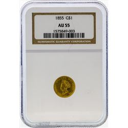 1855 $1 Indian Princess Head Gold Coin NGC AU55