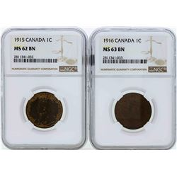 Lot of (2) Canada One Cent Coins NGC MS63BN